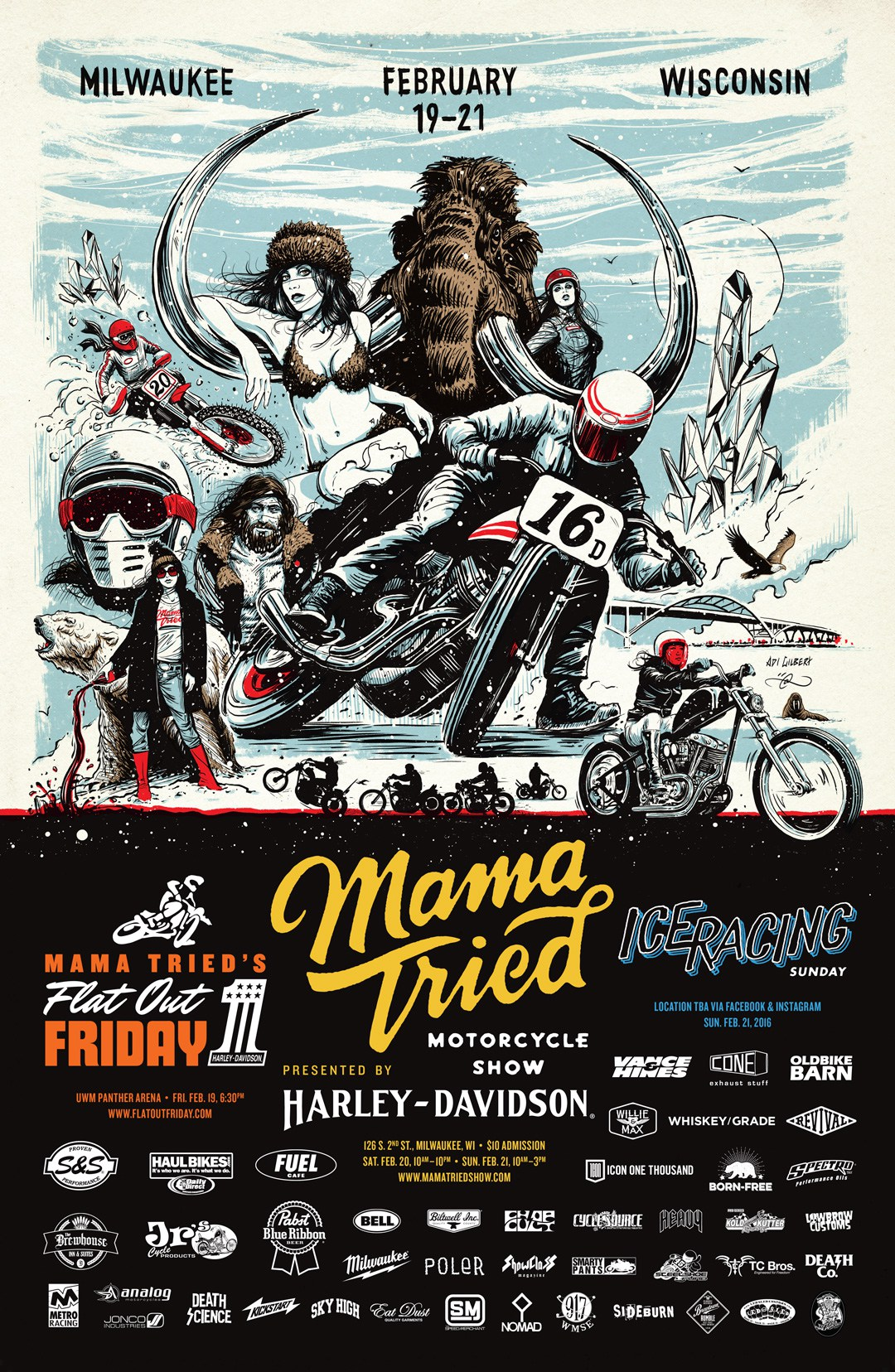Mama Tried Motorcycle Show Poster by Adi Gilbert