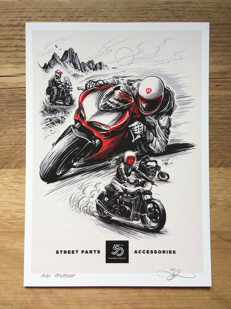 Street bike print by Adi Gilbert (with logo / title)