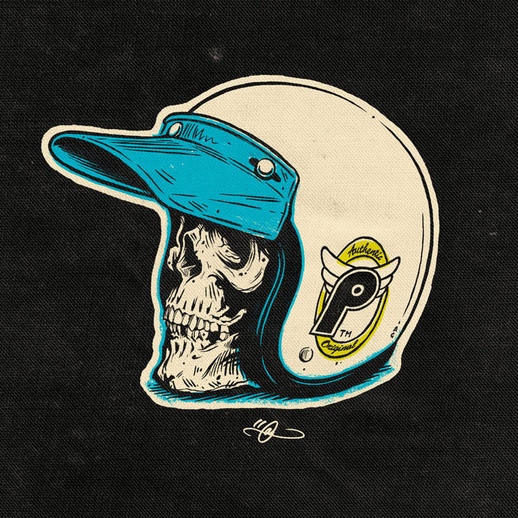 Profile Helmet and Skull
