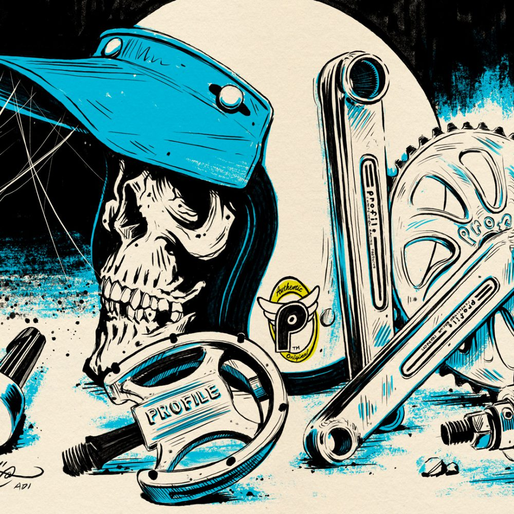 From The Dungeon With Profile Racing. Scratching The Surface Of Some Of The Best BMX Components In History - Illustration By Adi Gilbert