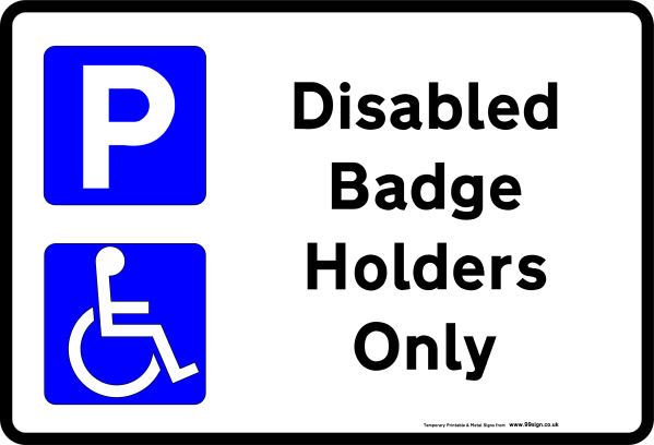 Printable Disabled Parking sign low cost vinyl or free