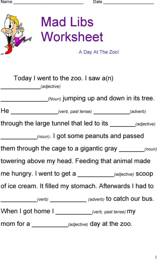 small resolution of Zoo Mad Libs Worksheets   99Worksheets