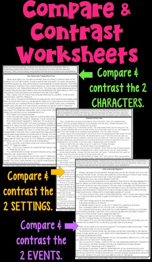 small resolution of Compare And Contrast Supporting Characters Worksheets   99Worksheets