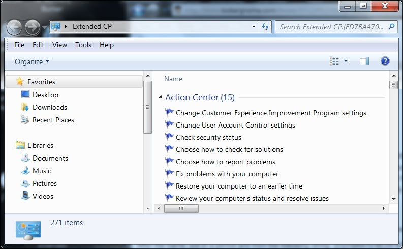 Win7 - Extended Control Panel