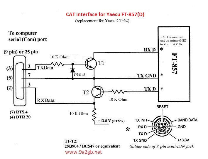 For The Cat 5 Cable Rj45 Jack Wiring Diagram Cat Interface For Yaesu Ft 857 D
