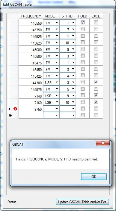 GBCAT - Edit GSCAN Table