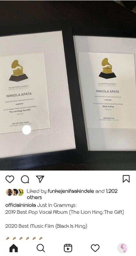Niniola Grammy Award 1