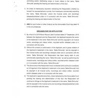 Bella Shmurda slammed with lawsuit for copyright infringement Court Document 1