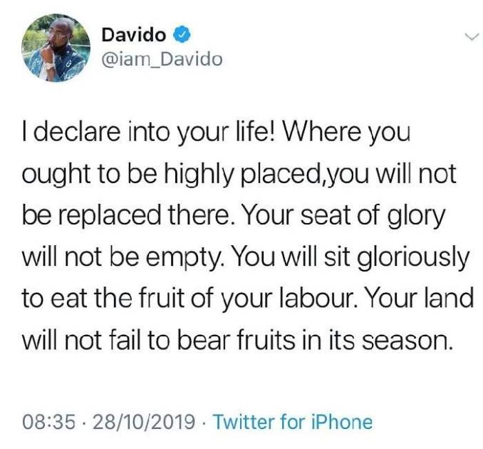 Pastor David!!! See Davido's Prayers For Everyone Today (You Should Say To Claim It)