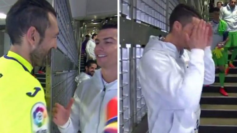 Video/Photo: CR7 ashamed when he realized that cameras recorded his joke with Diego Lopez