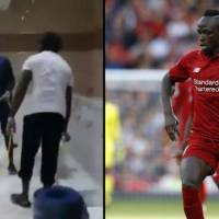 Photo: Sadio Mane cleaning the mosque toilets
