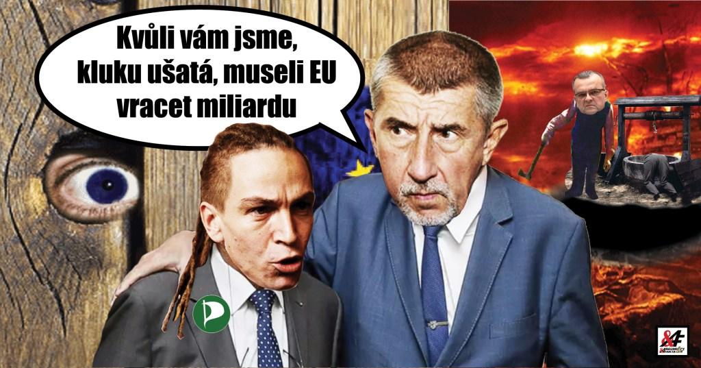 """Premiér Babiš: """"Pirát, který mě udal, způsobil ČR škodu skoro miliardu."""" Falešné udání agenta EU o spikleneckém kartelu, který neexistoval, a o úplatcích, které nebyly. Kdy vrátí Piráti miliardový dluh? Zelená levice, který se vymkla"""
