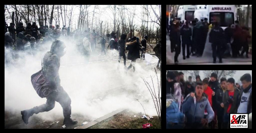 Šest raněných migrantů na turecké hranici. VIDEO. Střelba a slzný plyn. Situace se hrotí. Maďarsko a Rakousko posílá vojáky na pomoc statečným Řekům.