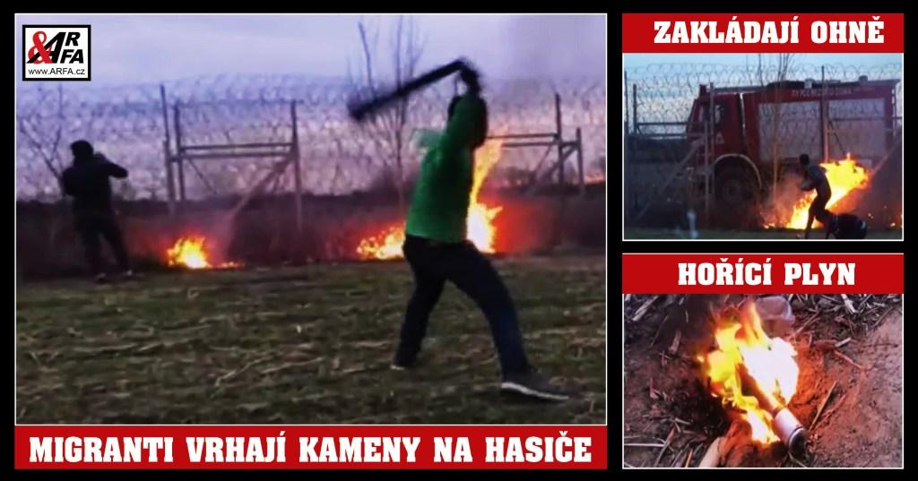 Nové zbraně migrantů: Zapalují ohně a pak útočí kameny a praky na řecké hasiče. VIDEO. Armáda odpovídá vodními děly a slzným plynem. Kdy jim rozdá Erdogan pušky?