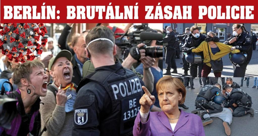 """Dívejte se:  Brutální zásah policie v Berlíně proti těm, kteří volají """"COVID-19 je lež!"""" Děsivé německé povely z megafonů, černé uniformy. Lidé křičící o pomoc. Vítejte v NOVÉ NORMALITĚ."""