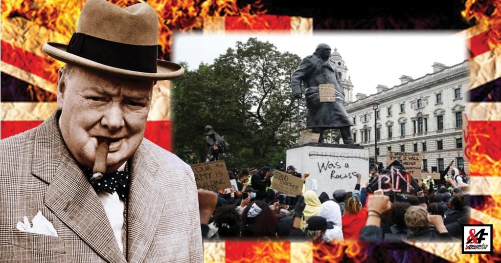"""Odporné: Levičácká lůza beztrestně poničila sochu sira Winstona Churchilla nápisy: """"Rasista!"""" a málem lynčovala muže s falešným knírem, který jim rozkopal cedule. VIDEO"""