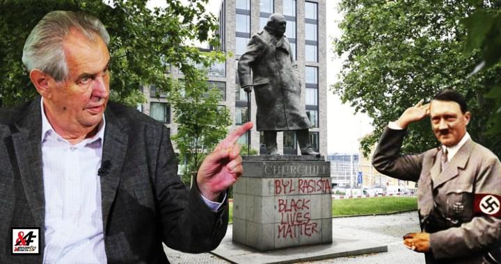 """""""Díky Churchillovi se Hitler nedohodl s Británií a Češi nebyli vyhnáni ze své vlasti,"""" uvedl prezident Miloš Zeman k poničení sochy britského diplomata. Na stopě: Byly pachatelky Romky?"""