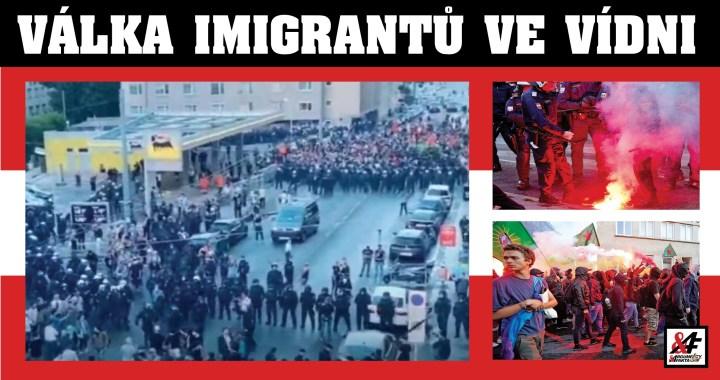 """Válka imigrantů: V ulicích Vídně zuří tvrdé boje. Výkřiky """"Alláhu akhbar!"""" dělbuchy, lahve, kameny…  Vyhlášen nouzový stav. Desítky raněných – i mezi policisty"""