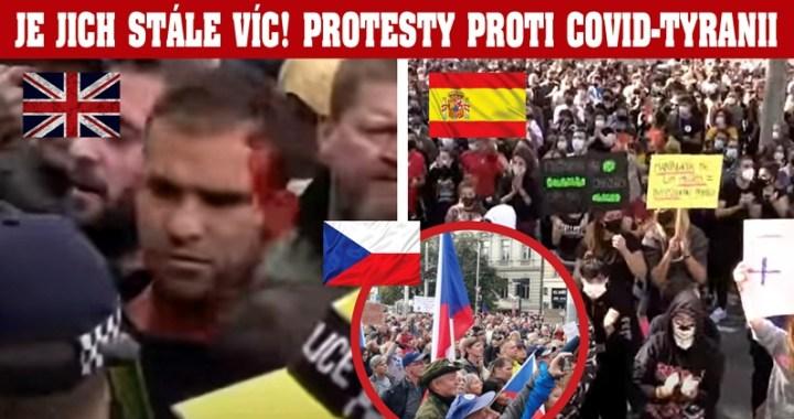 """Krvavá demonstrace v Londýně tento víkend: """"Dost bylo podvodu s covid-19!"""" Děsivé VIDEO protestů proti covid-tyranii v Madridu. Lidé, uvězněni ve svých čtvrtích, teď vyšli do ulic… Média ale dál šíří strach a paniku…"""
