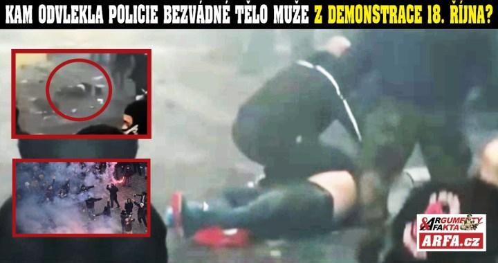 Z toho mrazí: Kam policie odvlekla bezvládného muže z protivládní demonstrace na Staroměstském náměstí? Šokující VIDEO. Byl mrtvý? Proč o něm nic nevíme? Ministr vnitra divně mlží…
