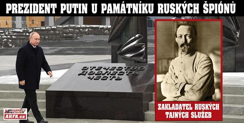 """Jak Putin položil květiny k památníků ruských špionů. """"Bravo! Chlapci!"""" Odvážný výlet do zákulisí ruské tajné služby, která slaví 100 let vzniku. Co řekl údajný vrah o spodním prádle?"""