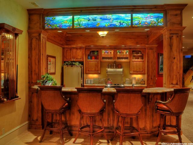 Built-in Bar with artist-quality stained glass