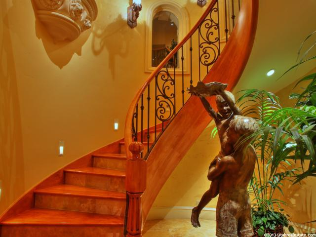 Winding staircase with decorative wrought iron