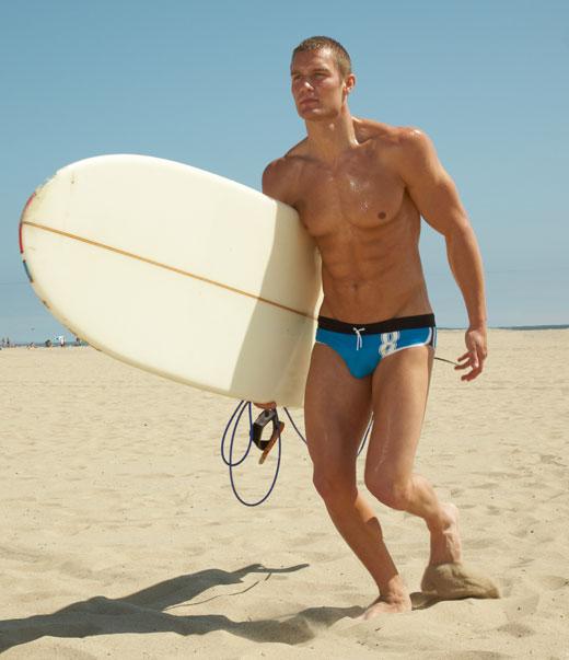 Surfing in Speedos