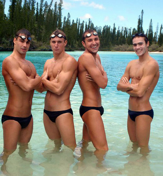 Guys wearing black speedos