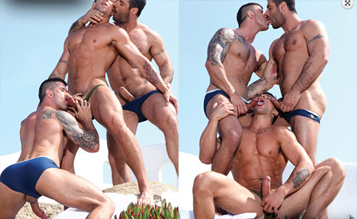 Gay Threesome on the Beach