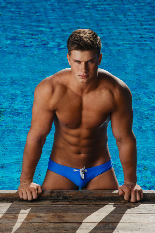 Blue Speedos Poolside