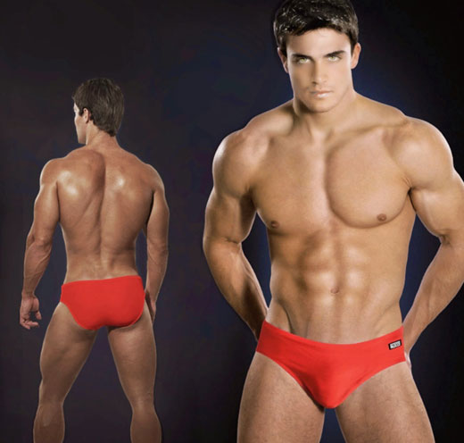Model in Red Speedos