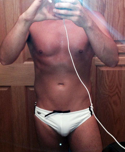 Selfie in White Speedos