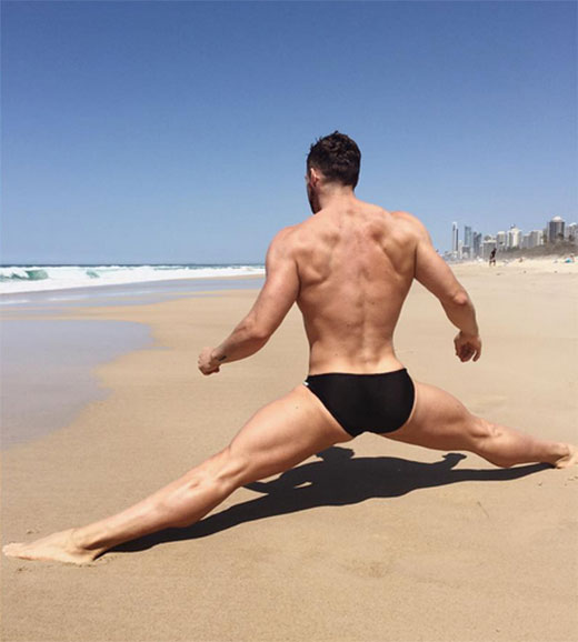 Stretching in Speedos