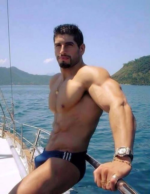 Muscle Man in Blue Speedos