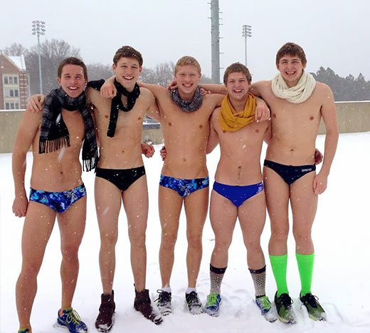 Snow and wearing Speedos