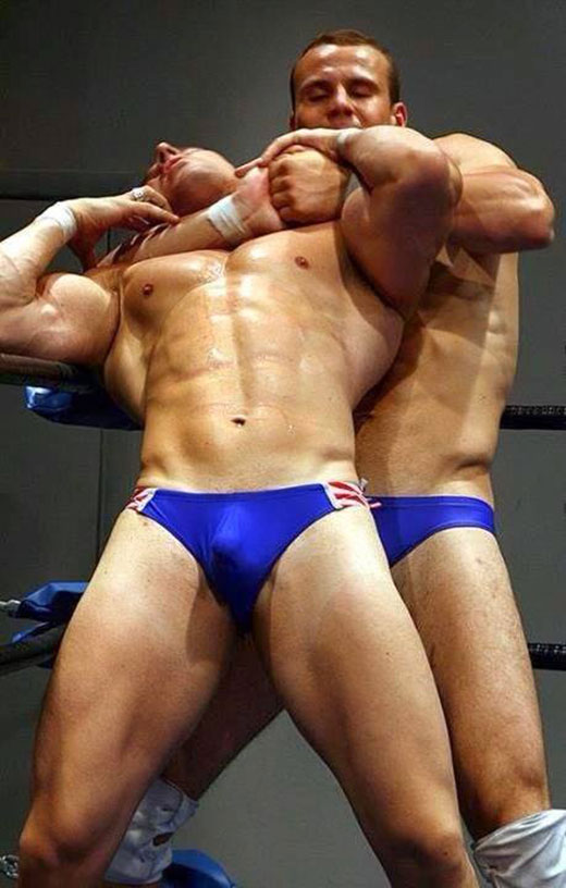 Wrestling in Speedos