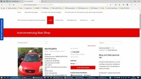 Blog Elke Wirtz  Autoverwertung Baal Projekt Webseite, Blog mit Shop