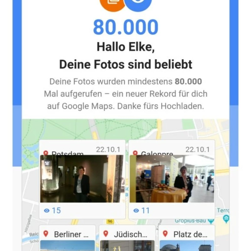 80.000 Aufrufe meiner Fotos und Rezessionen bei Google Maps 03.12.2019
