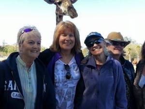 My girlfriends (and one giraffe) helped me celebrate my birthday. Left to right: Sondra, Kathy, me, Phyllis, and Julie who is there but didn't get in the shot. So sorry Julie. We still love you.