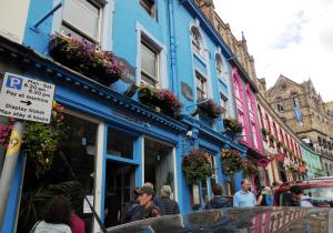 This front of the restaurant Maison Bleue on the Royal Mile in Edinburgh.