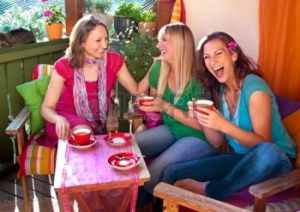 There's nothing better than laughing with your girlfriends, especially if the coffee is good.