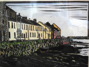 This linocut watercolor by Michael Babinsky depicts Galway City, Ireland and hangs in my office. I often visualized myself standing there at the quay.