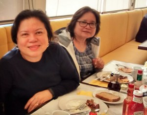 These are two of my new friends, Cynthia and Nora, who I met at the restaurant and bought my books.