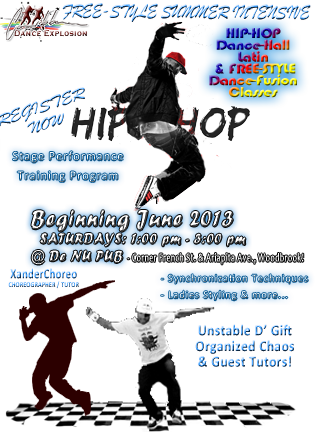 Free-Style, Hip-Hop, Dance-Hall, Latin, Modern-Contemporary, Folk, Indo & Afro Caribbean Dance