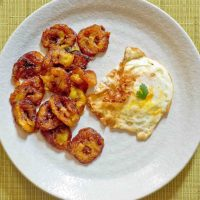 Simple Jamaican Breakfast:  fried ripe plantains with eggs