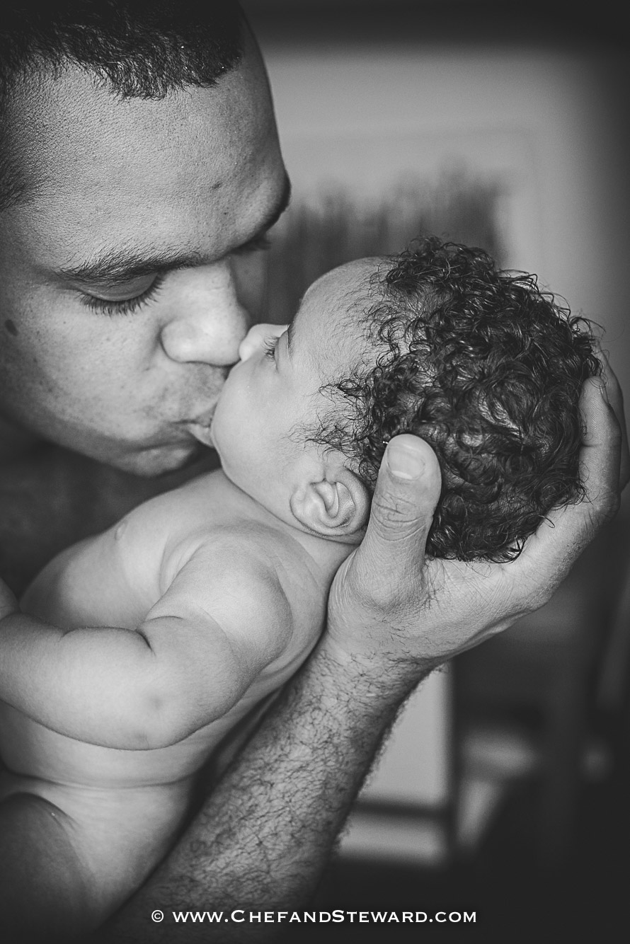 Chef father and son newborn photography black and white-2
