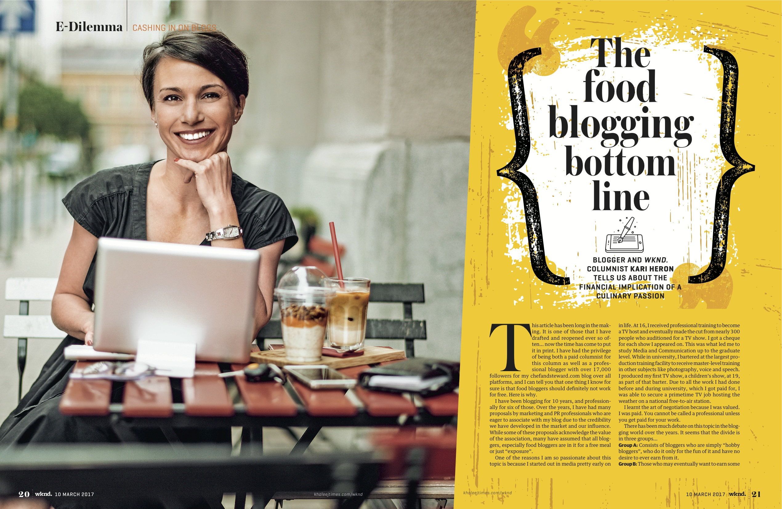 food bloggers blogging for free bloggers to get paid My cover story in the Khaleej Times WKND magazine