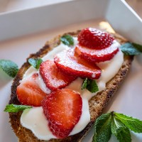 Creamed Honey Whipped Cheese Strawberry Crostini