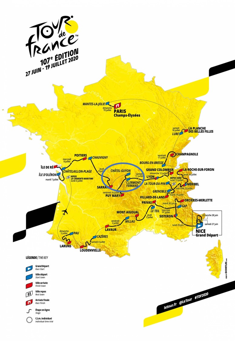 The Tour de France comes to Châtel-Guyon in 2020